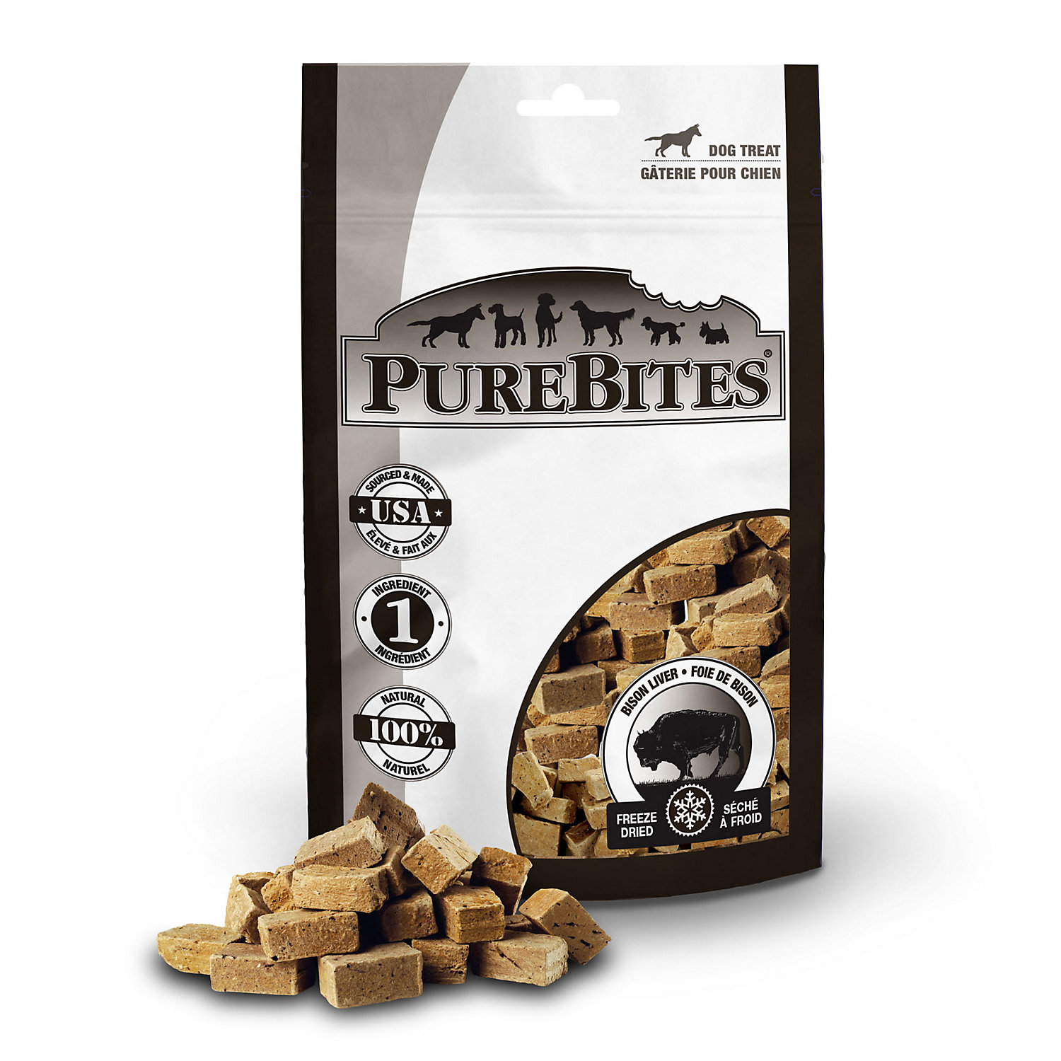 Purebites Bison Liver 2.6oz/ 74g Mid Size Dog Treats