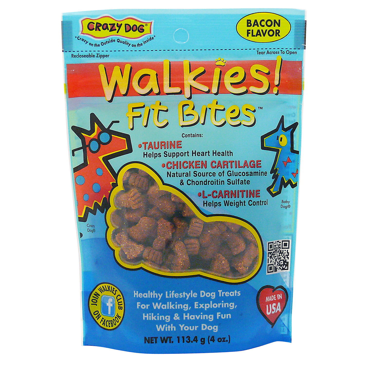 Crazy Dog Walkies Fit Bites Bacon Dog Treats 4 Oz.