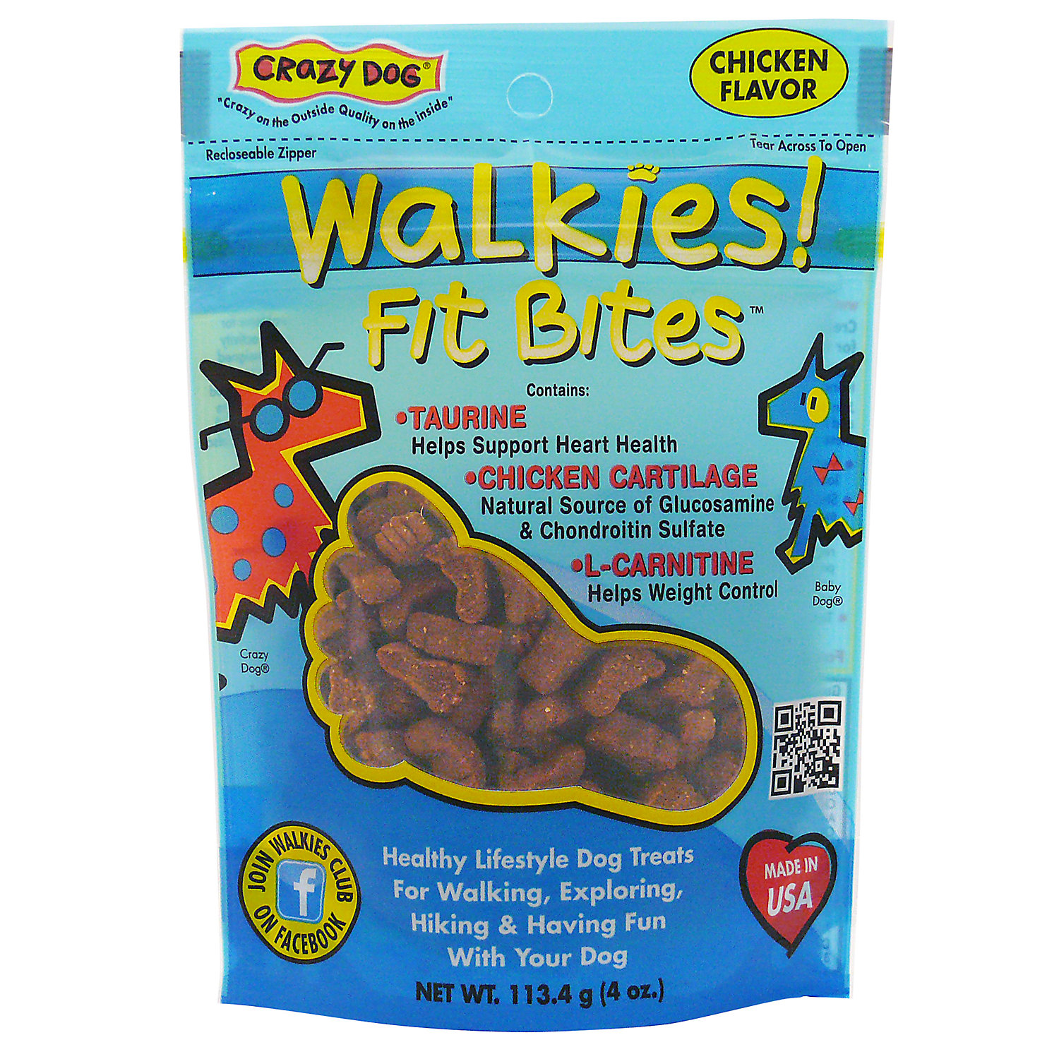 Crazy Dog Walkies Fit Bites Chicken Dog Treats 4 Oz.