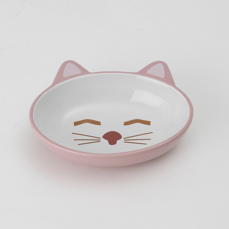 5.5 Oz Pink Cat Is Good Ceramic Cat Dish