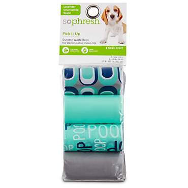 So Phresh Pick It Up Humor Print Scented Dog Waste Bags, Teal