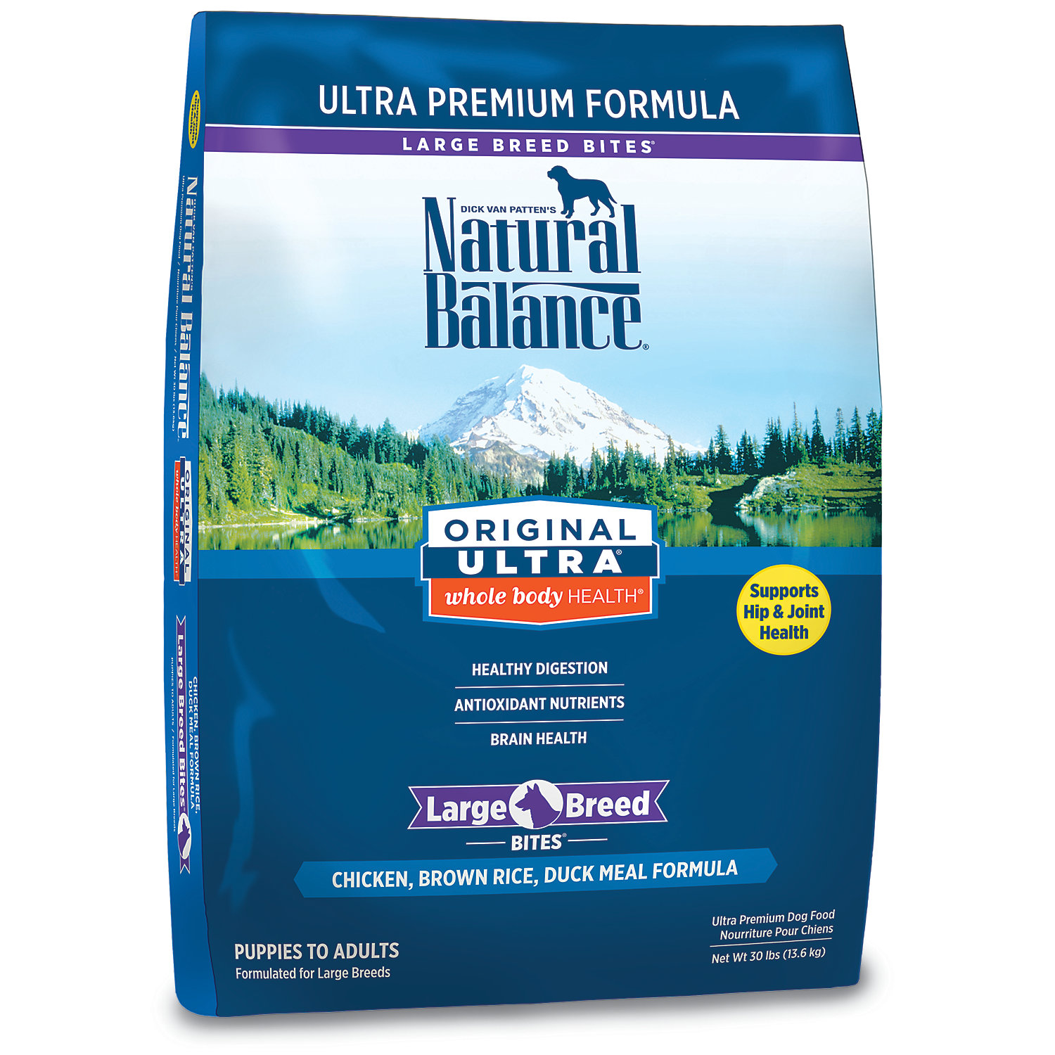 Natural Balance Original Ultra Whole Body Health Large Breed Chicken Brown Rice Duck Meal Dog Food 30 Lbs.