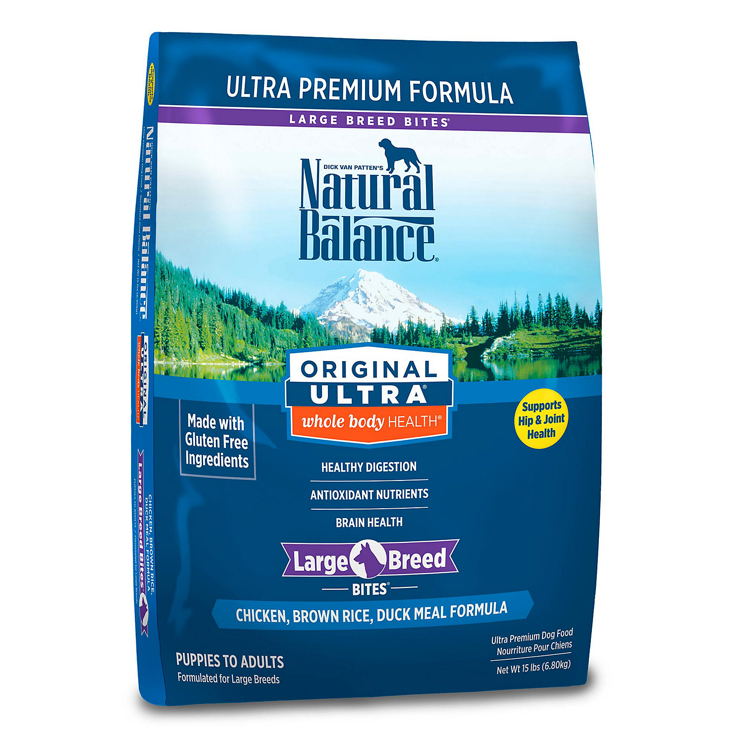 Natural Balance Original Ultra Whole Body Health Large Breed Chicken Brown Rice Duck Meal Dog Food 15 Lbs.