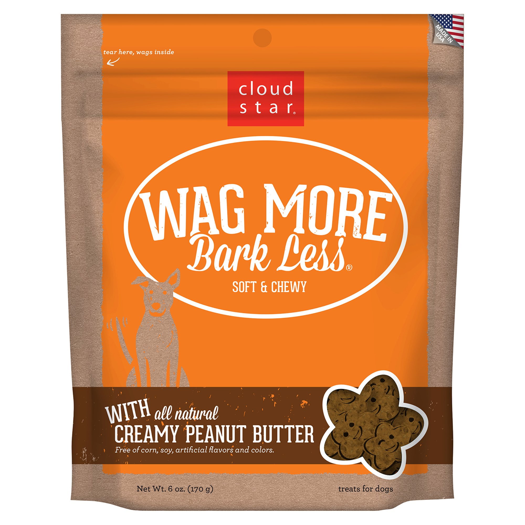 Cloud Star Wag More Bark Less Soft & Chewy Peanut Butter Dog Treats