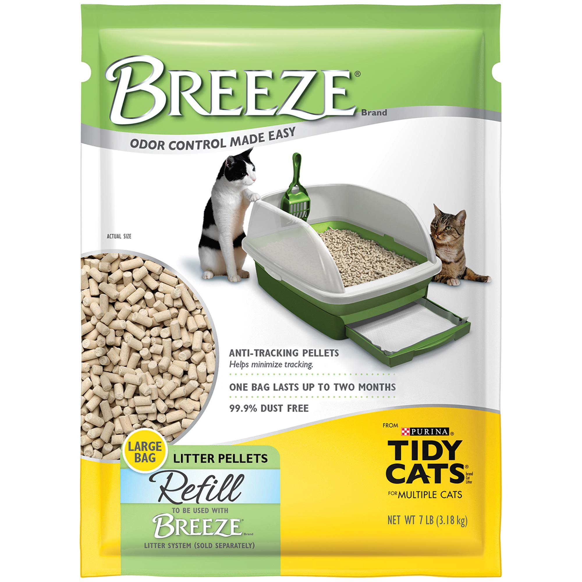 Purina Tidy Cats Breeze Pellets Refill Litter for Multiple Cats, 7 lbs.
