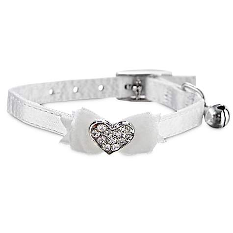 Bond & Co White Fancy Bow & Gem Kitten Collar