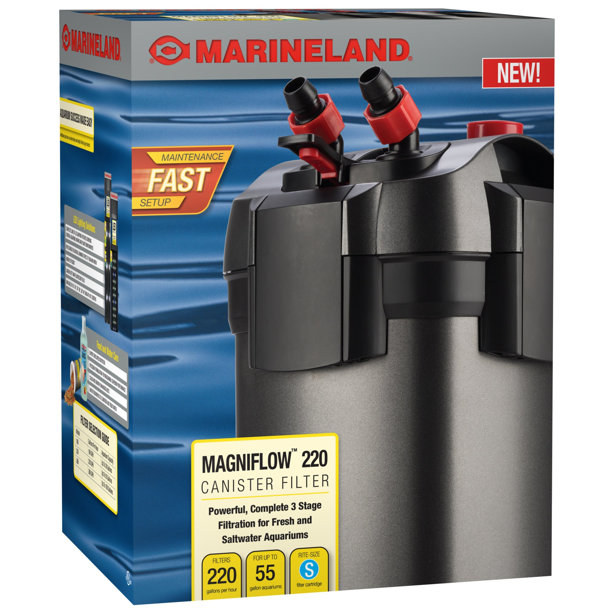 Marineland magniflow 220 canister filter petco for 55 gallon fish tank petco
