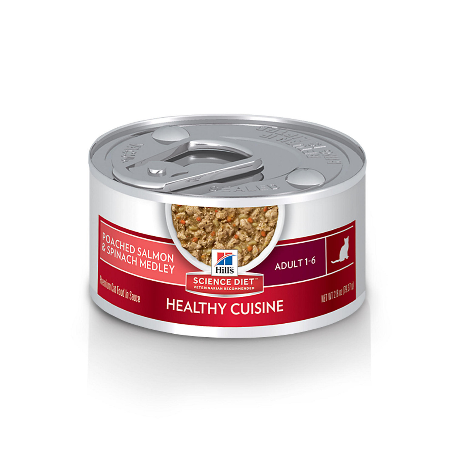 Hills Science Diet Adult Healthy Cuisine Poached Salmon & Spinach Medley Wet Cat Food, 2.8 Oz., <br /><br />Case of 24