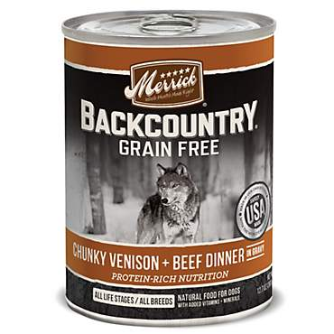 Merrick Backcountry Chunky Venison + Beef in Gravy Grain Free Wet Dog Food