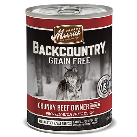 Merrick Backcountry Chunky Beef in Gravy Grain Free Wet Dog Food