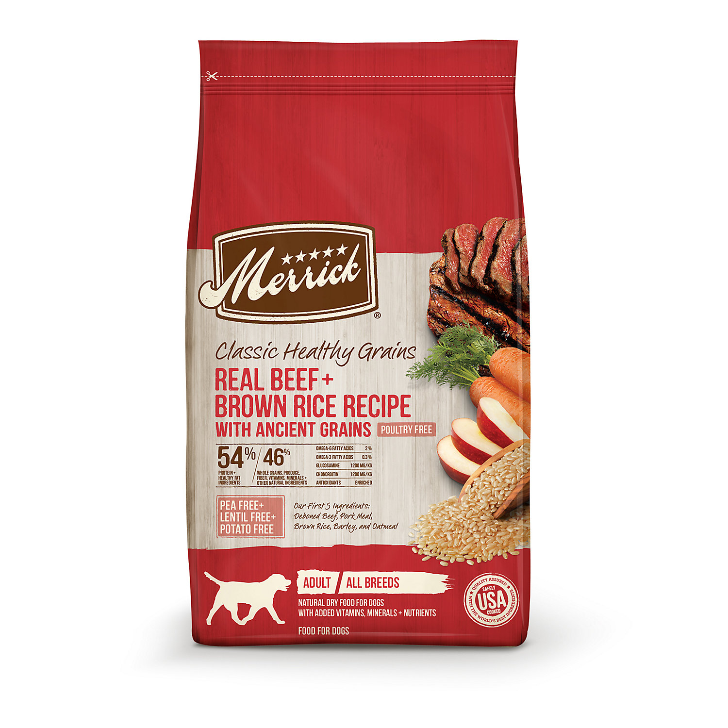 Merrick Classic Real Beef + Green Peas With Ancient Grains Dry Dog Food, 12 Lbs.