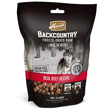Merrick Backcountry Freeze-Dried Raw Real Beef Recipe Meal or Mixer Grain Free Adult Dog Food