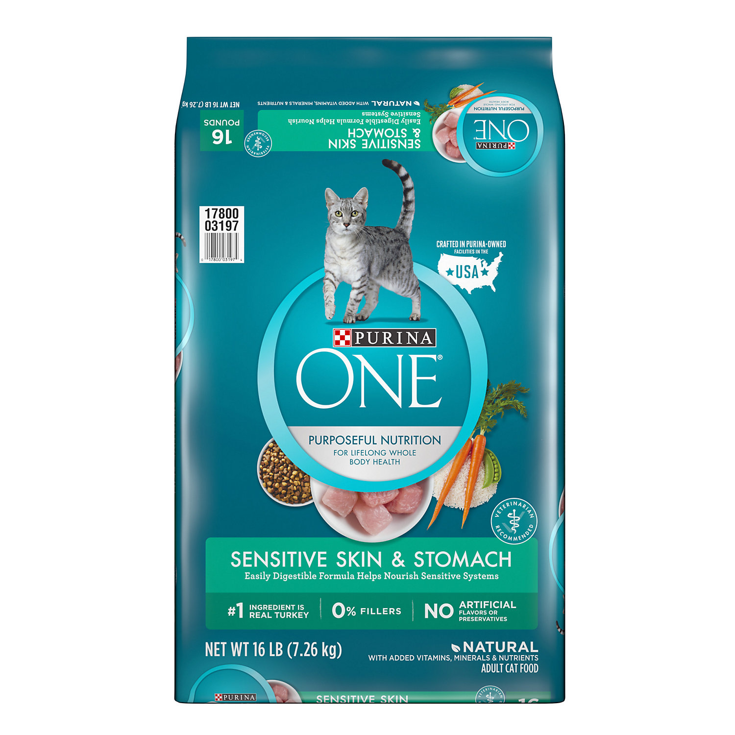 Purina One Sensitive Systems Adult Premium Cat Food 16 Lbs.