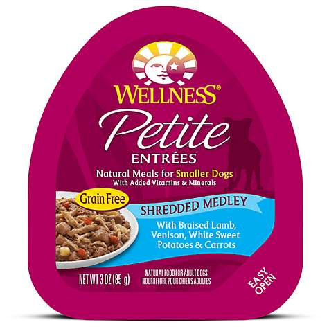 Wellness Petite Entrees Shredded Medley Grain Free Braised Lamb, Venison & Veggies Wet Dog Food