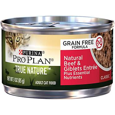 Pro Plan True Nature Adult Grain Free Natural Beef & Giblets Entree Classic Canned Cat Food