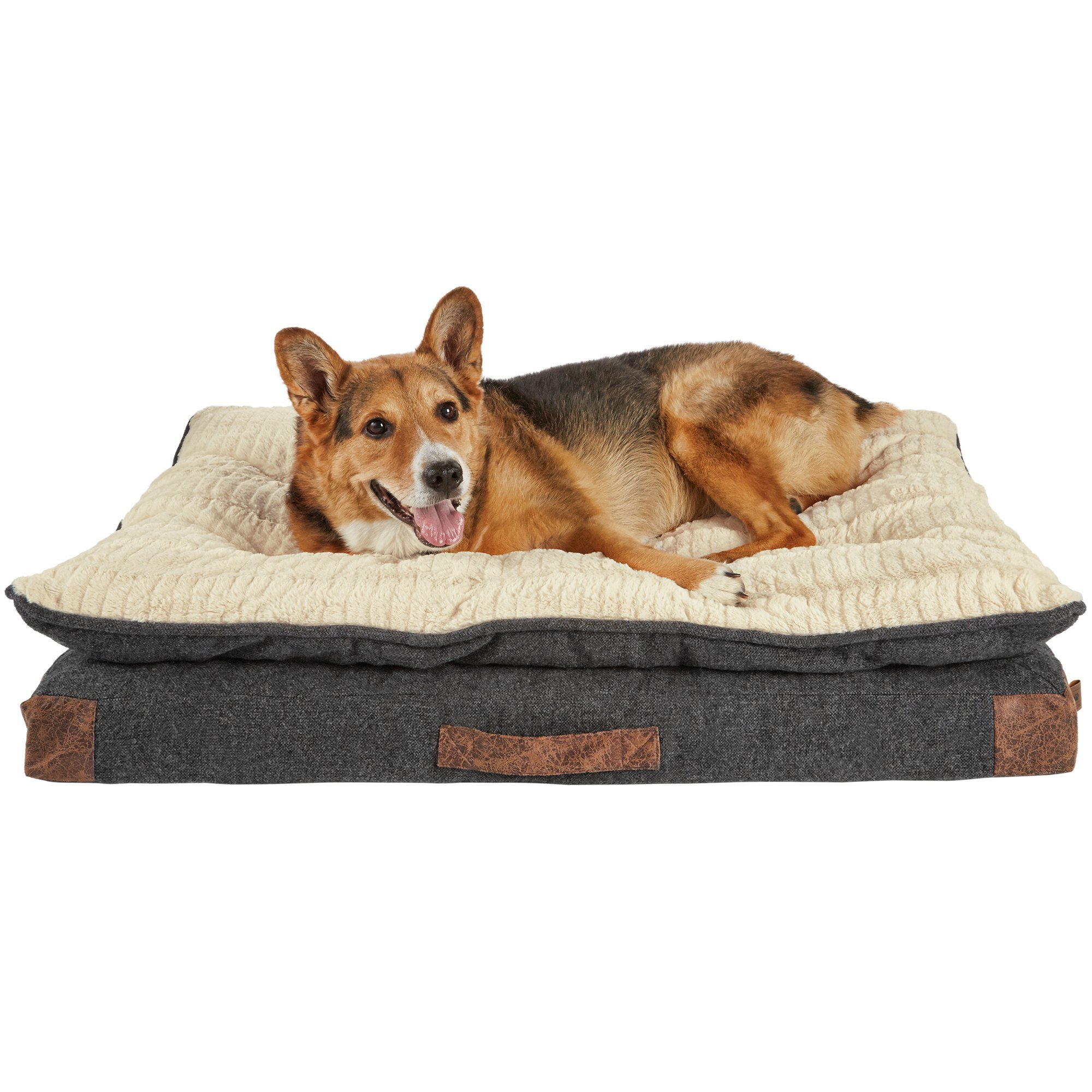 Harmony Grey Patched Pillowtop Lounger Orthopedic Dog Bed Petco