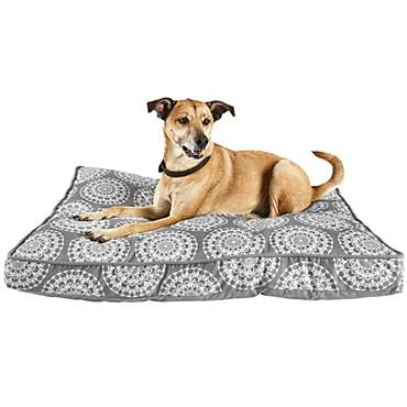 Harmony Grey Medallion Print Lounger Memory Foam Dog Bed