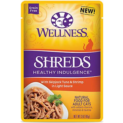 Wellness Healthy Indulgence Natural Grain Free Shreds with Tuna & Shrimp in Light Sauce Wet Cat Food
