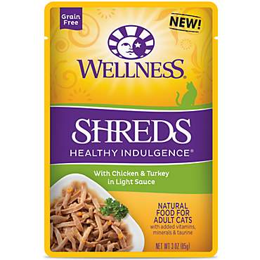 Wellness Healthy Indulgence Natural Grain Free Shreds with Chicken & Turkey in Light Sauce Wet Cat Food