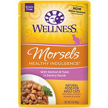 Wellness Healthy Indulgence Natural Grain Free Morsels With Salmon & Tuna in Savory Sauce Wet Cat Food