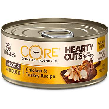 Wellness CORE Hearty Cuts Natural Grain Free Chicken & Turkey Wet Indoor Cat Food