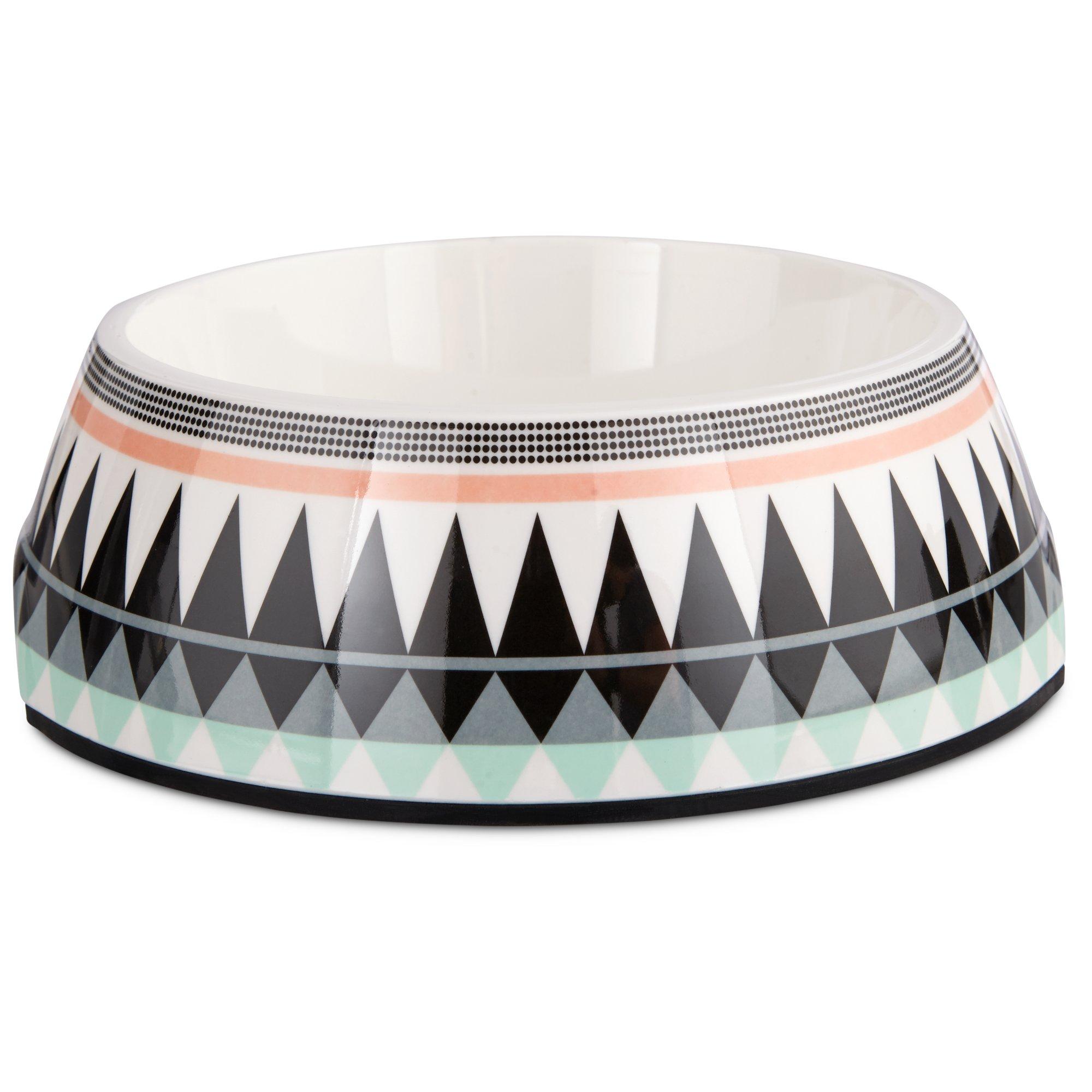 Image of Bowlmates Aztec Print Single Round Base, 1.75 Cup, Small, Black / Multi-Color
