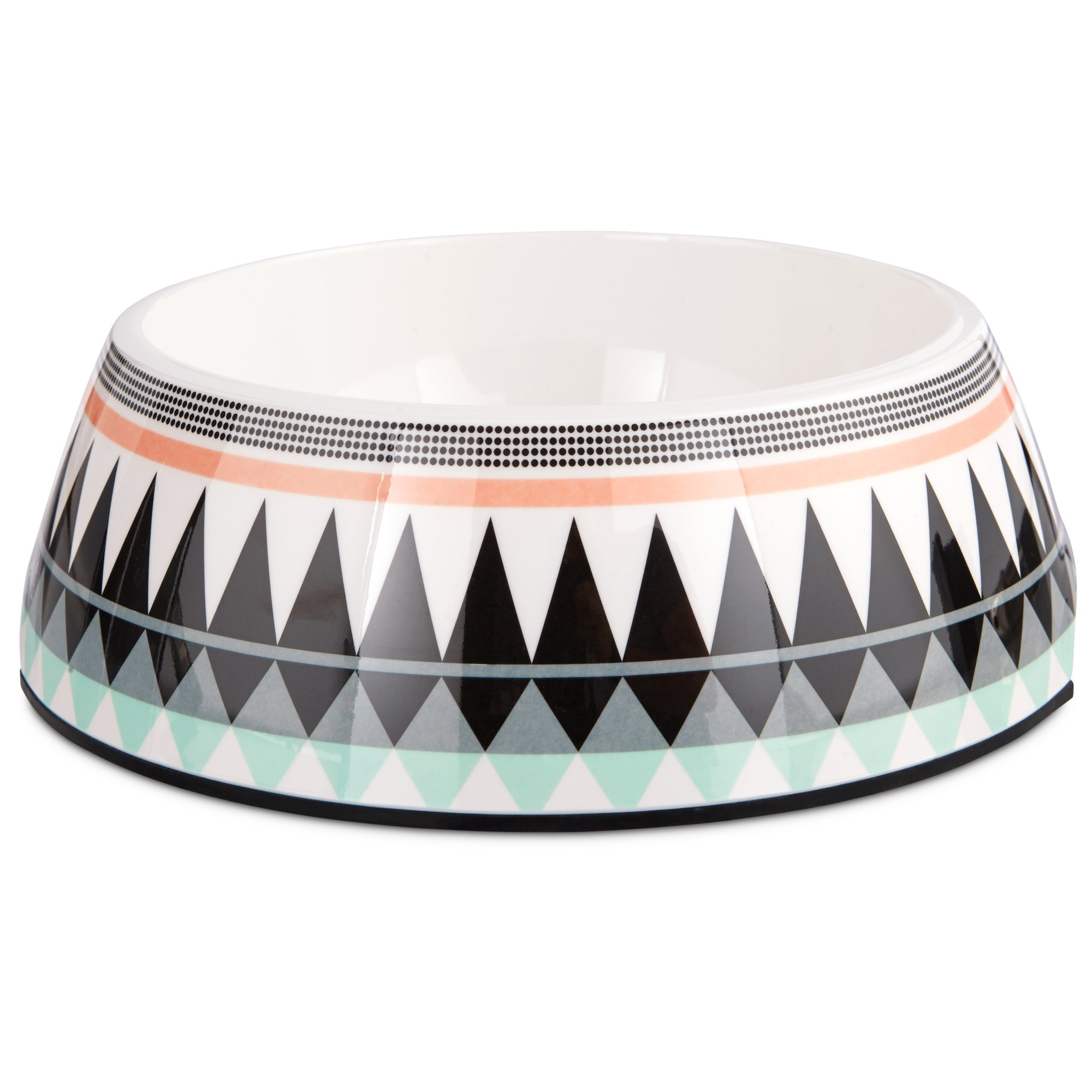 Image of Bowlmates Aztec Print Single Round Base, 3 Cup, Medium, Black / Multi-Color