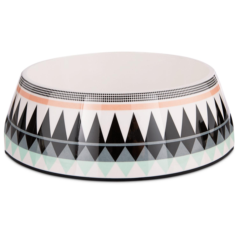 Image of Bowlmates Aztec Print Single Round Base, 7 Cup, Large, Black / Multi-Color