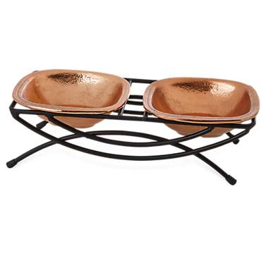 Harmony Copper Double Diner Cat Bowl Set