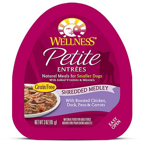 Wellness Petite Entrees Shredded Medley Grain Free Roasted Chicken, Duck, Peas & Carrots Wet Dog Food