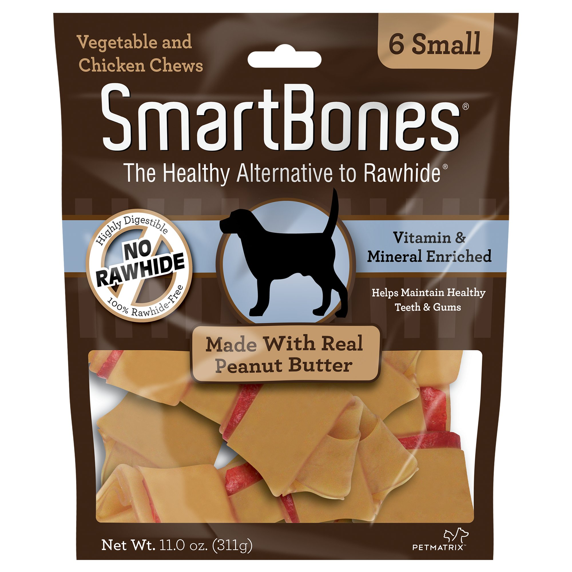 SmartBones NO-RAWHIDE Peanut Butter Small Dog Chews, 6 Pk