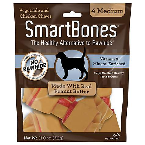 SmartBones NO-RAWHIDE Peanut Butter Medium Dog Chews