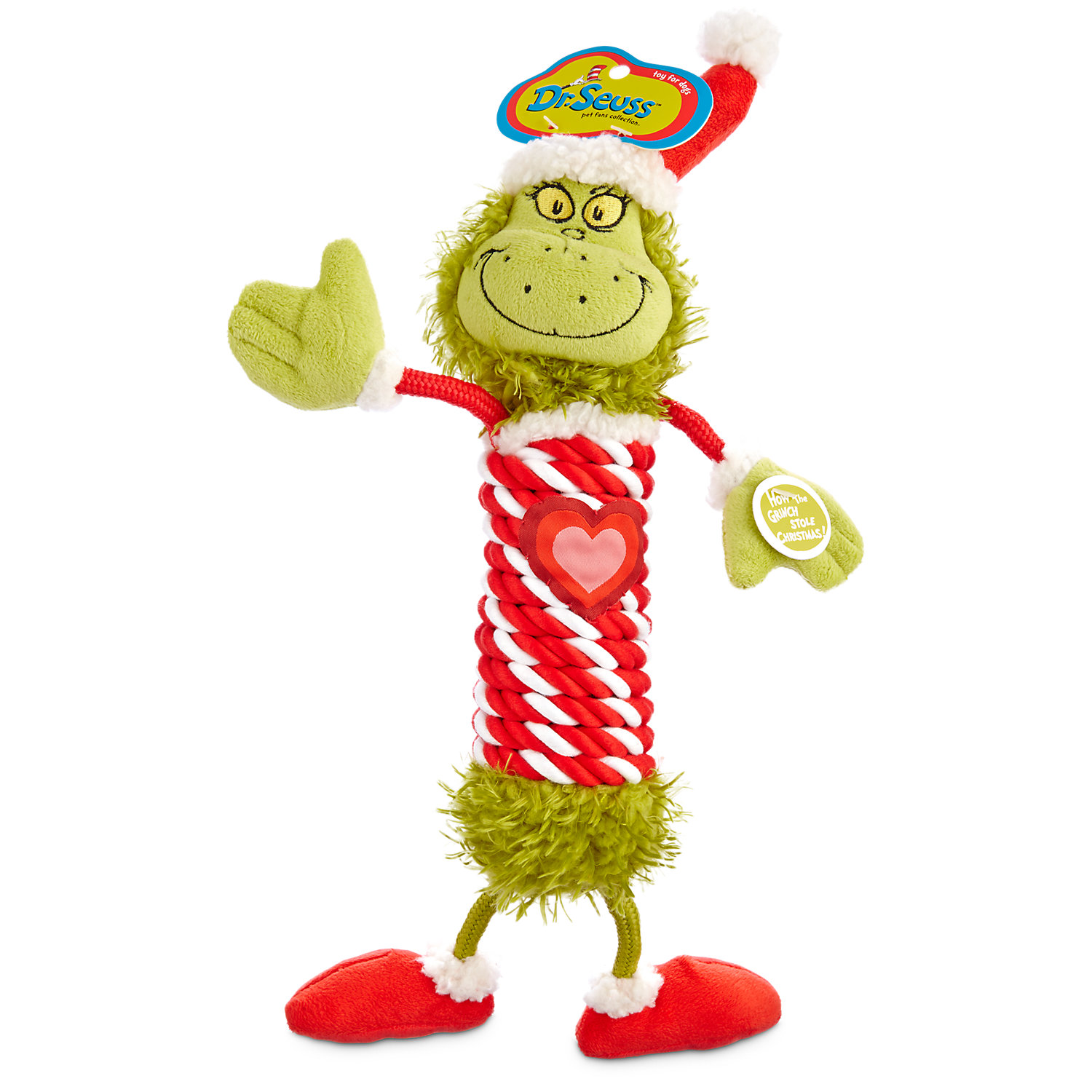 Dr. Seuss How The Grinch Stole Christmas Grinch With Rope Body Dog Toy, Large, Multi-color