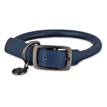 Bond & Co. Blue Rolled Leather Collar