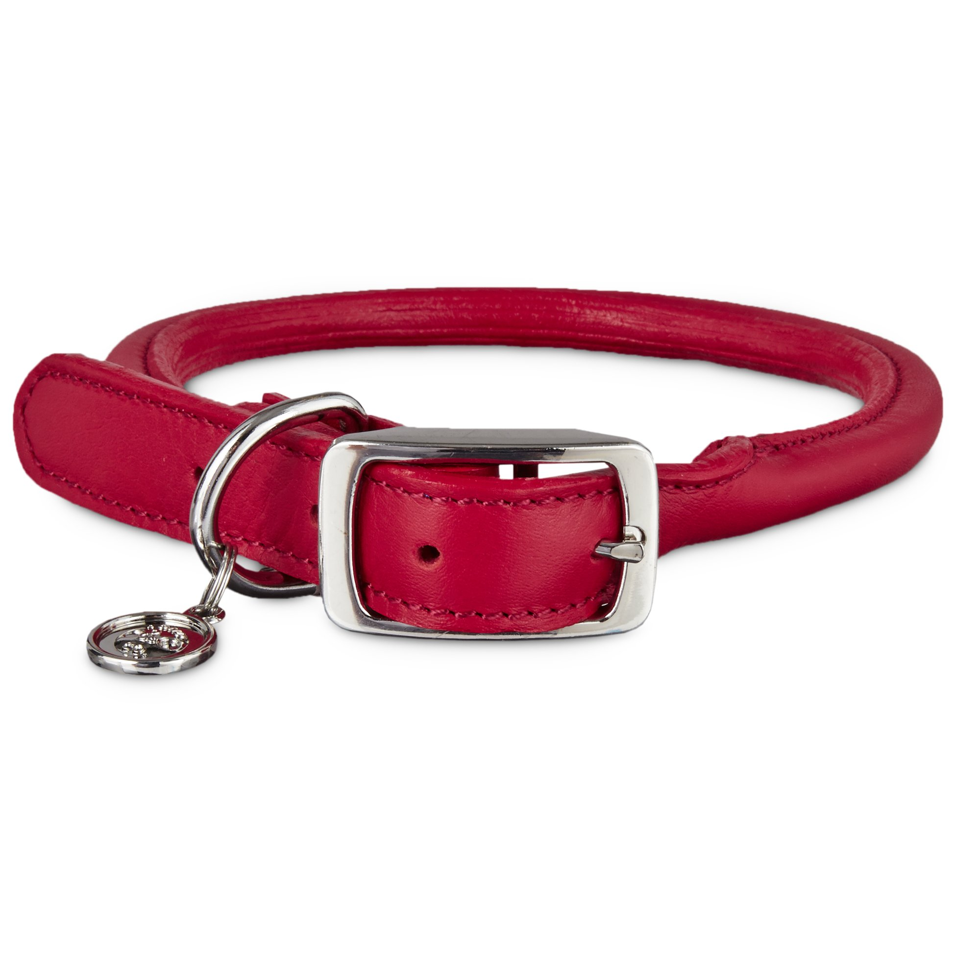 Bond & Co Red Rolled Leather Collar
