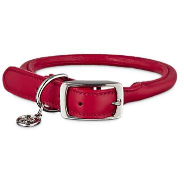 Bond & Co. Red Rolled Leather Collar