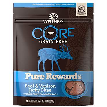 Wellness CORE Natural Grain Free Pure Rewards Beef & Venison Recipe Jerky Bites Dog Treats