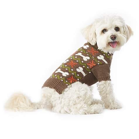 Wag-A-Tude Brown Heather Bone Fair Isle Button Sweater | Petco