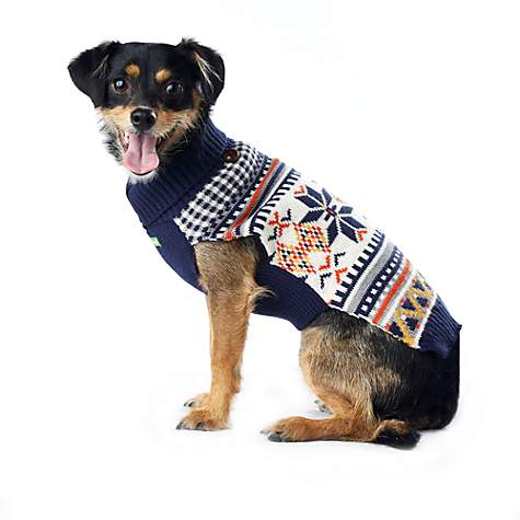 Wag-A-Tude Navy Fair Isle Zip Sweater | Petco