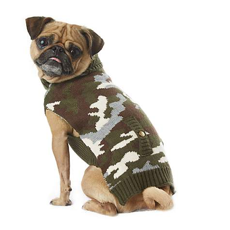 Wag-A-Tude Green Stud Pocket Camouflage  Sweater