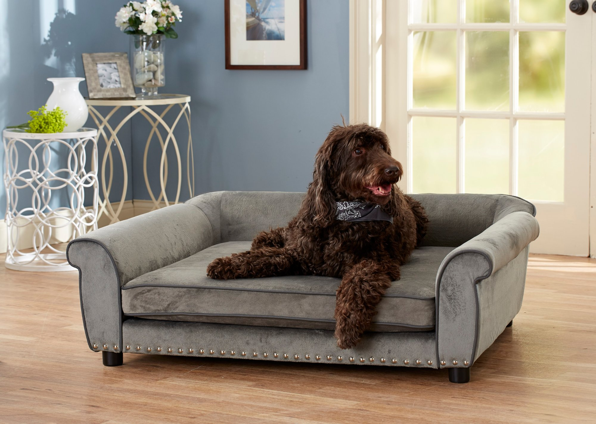 Enchanted Home Pet Grey Ultra Plush Outlaw Pet Sofa | Petco