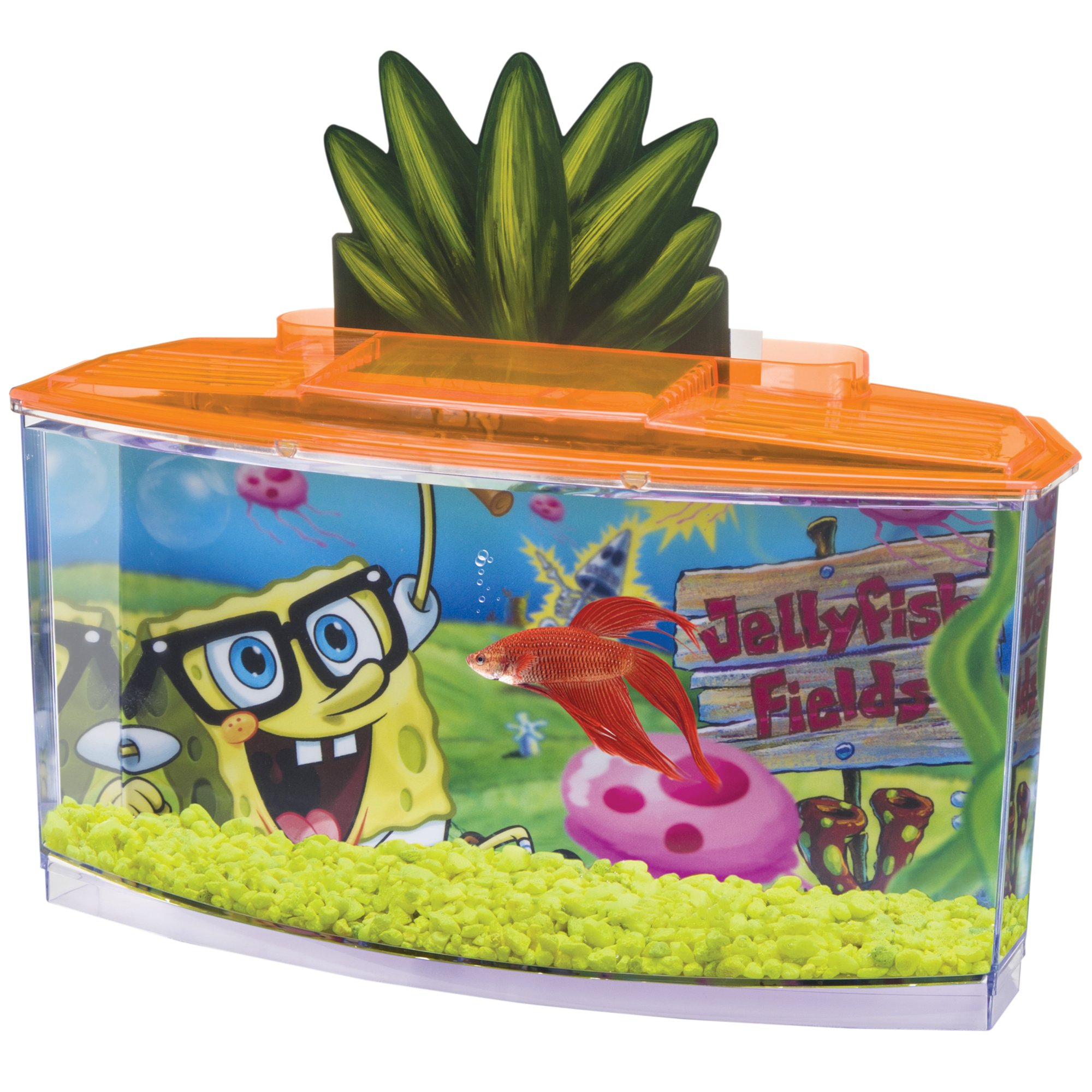 Penn plax spongebob squarepants betta aquarium kit 0 7 for Betta fish tanks petco