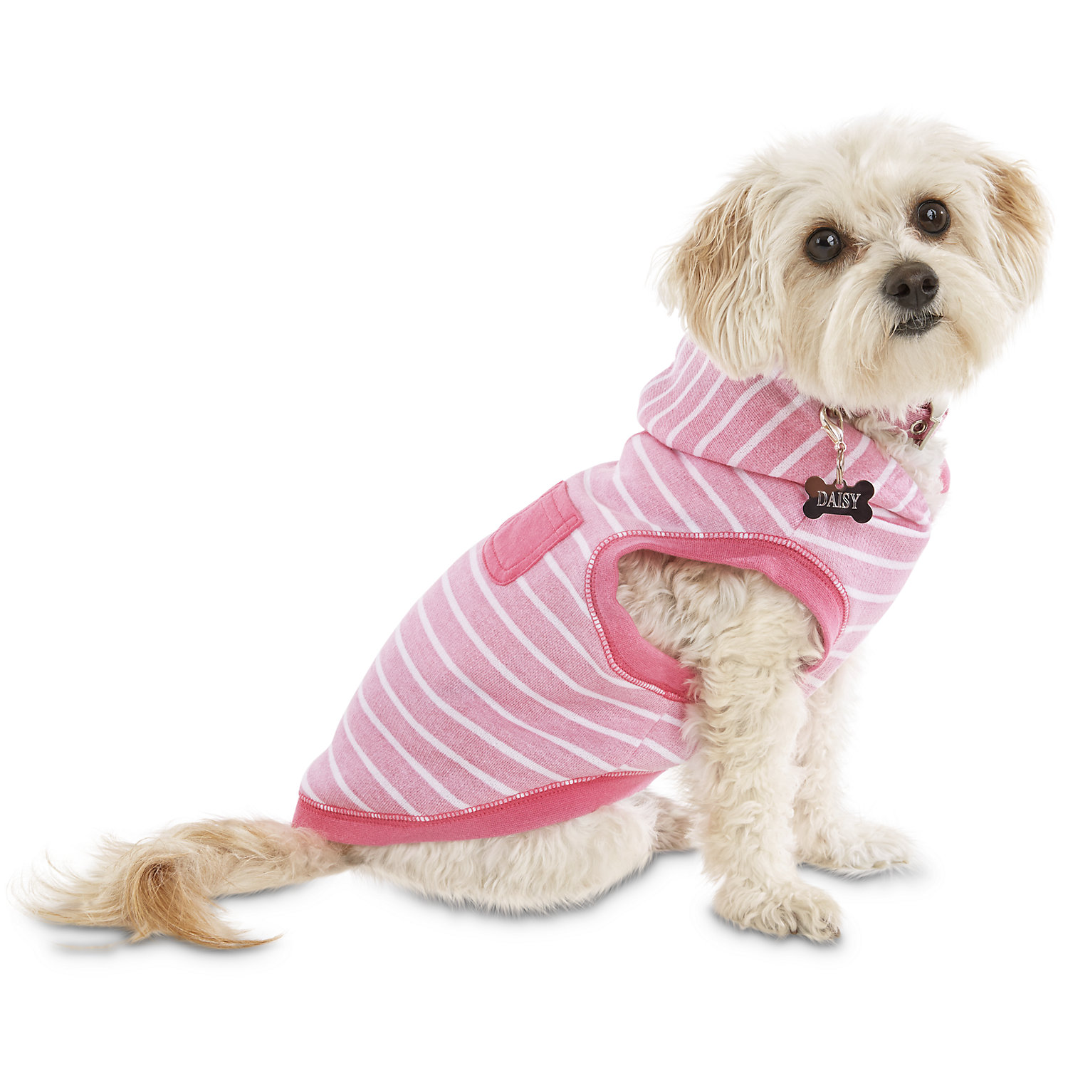 Bond & Co. Pink Striped Dog Hoodie, Small