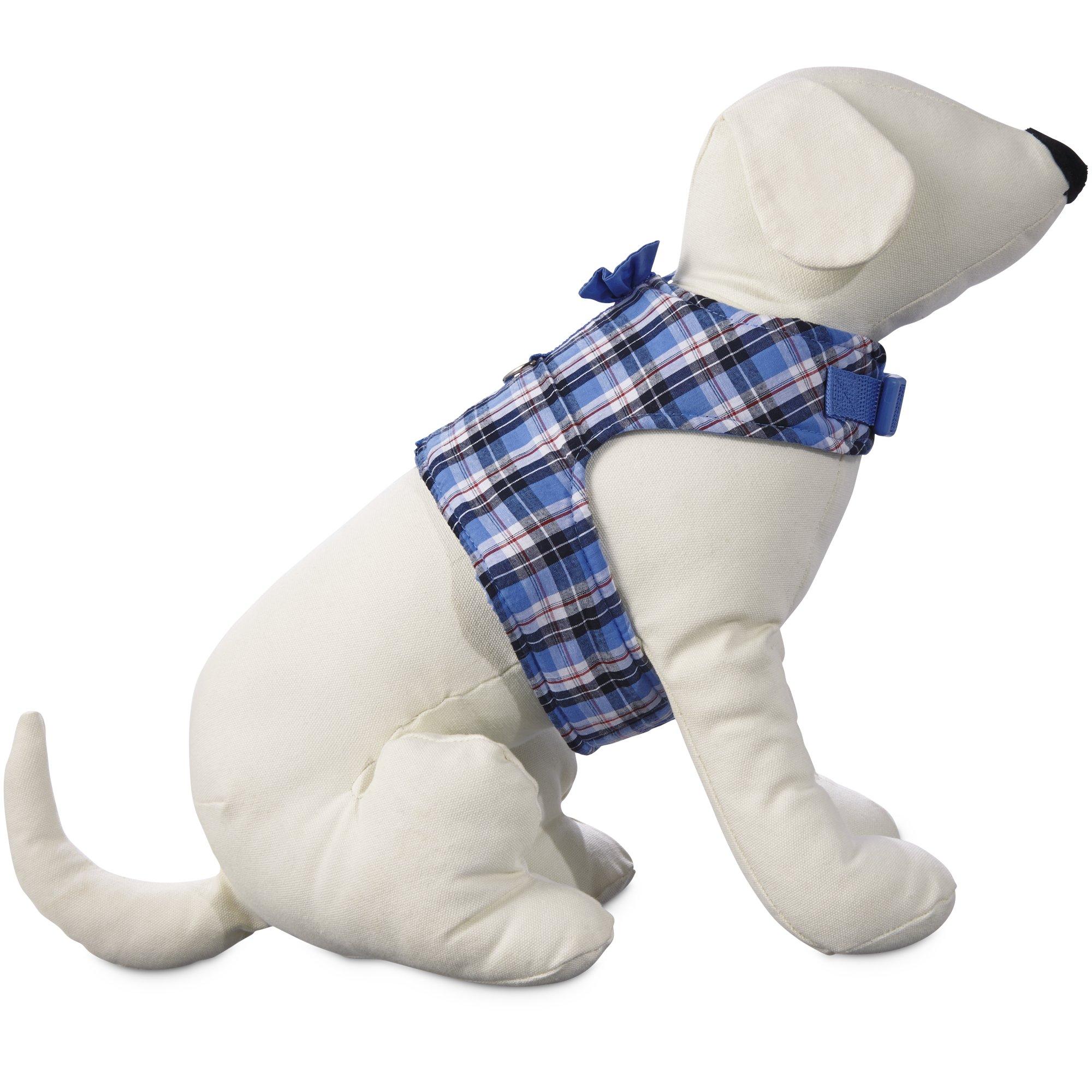 2629849 center 1 bond & co blue multi plaid bow tie dog harness petco