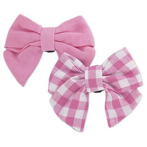 Bond & Co. 2 Pack Pink Gingham Bows for Small Dogs