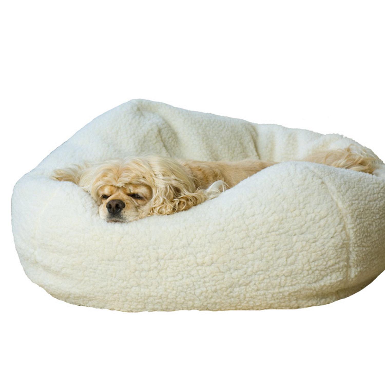 Carolina Pet Company White Sherpa Puff Ball Dog Bed, 26