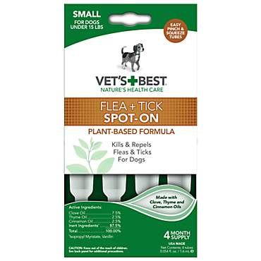 Vet's Best Topical Flea & Tick Treatment for Dogs up to 15 lbs.