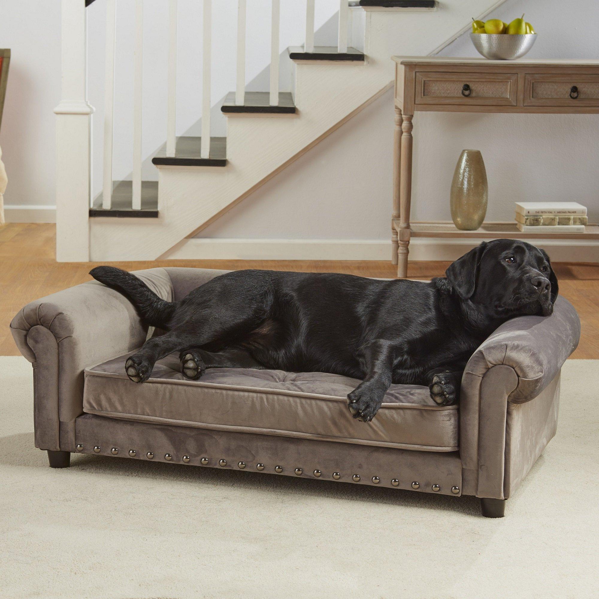 enchanted home pet grey velvet manchester pet sofa petco. Black Bedroom Furniture Sets. Home Design Ideas