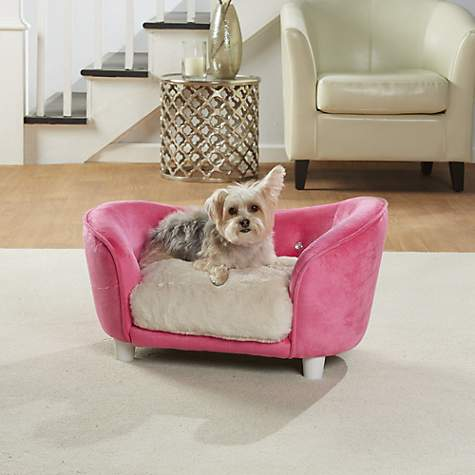 Enchanted Home Pet Pink Ultra Plush Snuggle Pet Sofa With Faux Fur Cushion  | Petco