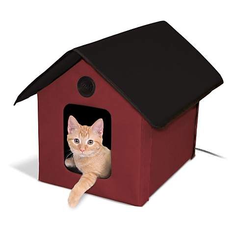 K&H Red and Black Outdoor Heated Cat House Barn